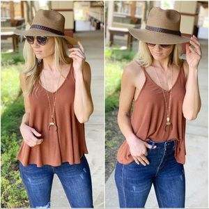 Infinity Raine Tops - Copper knit ribbed swing top